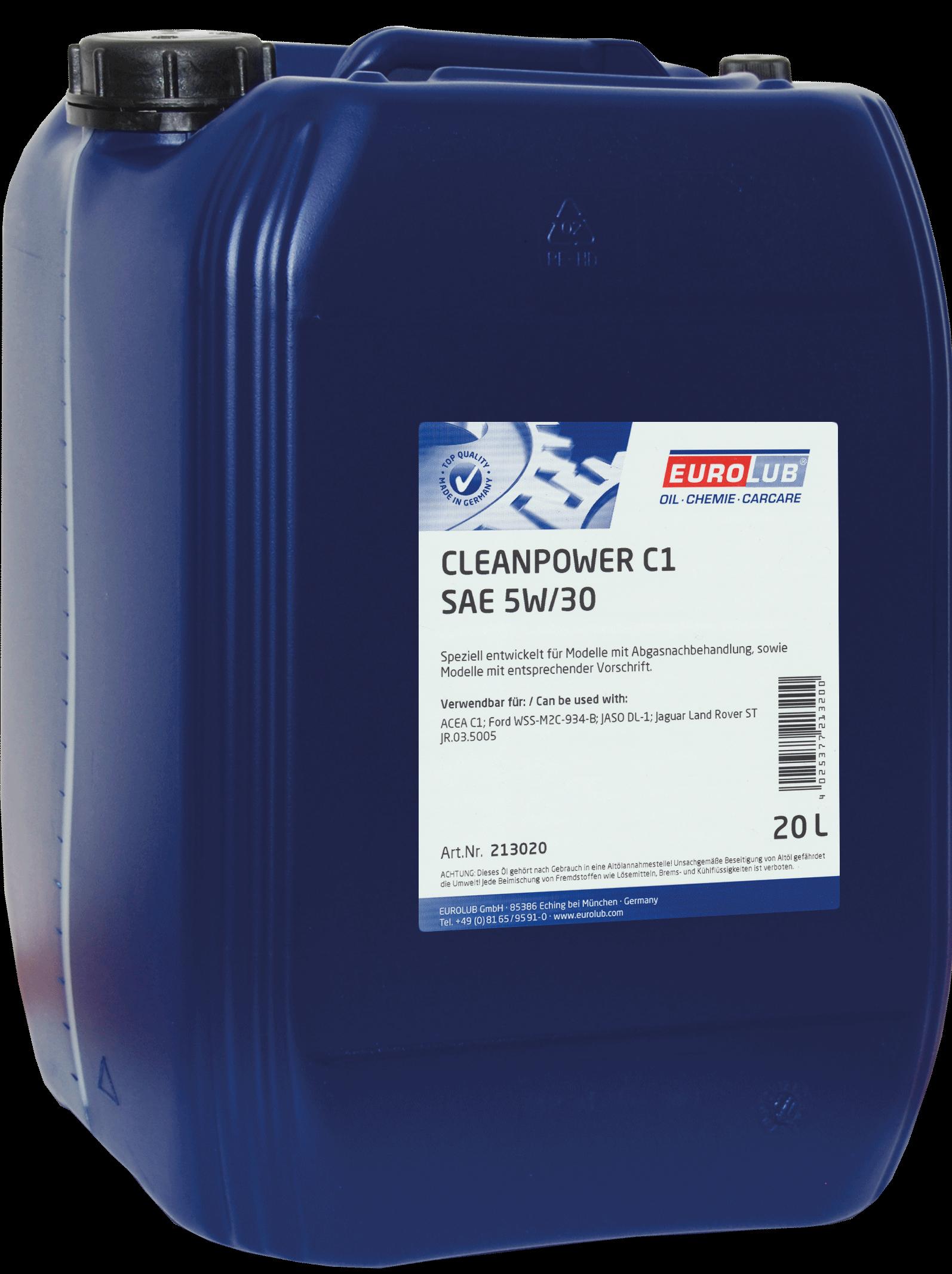EUROLUB CLEANPOWER C1, SAE 5W/30, (синтетическое, Mid SAPS) , 20л