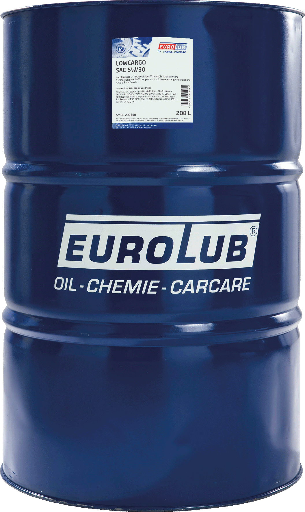 EUROLUB LOWCARGO SAE 5W/30 (синтетическое, LowSAPS), 208л
