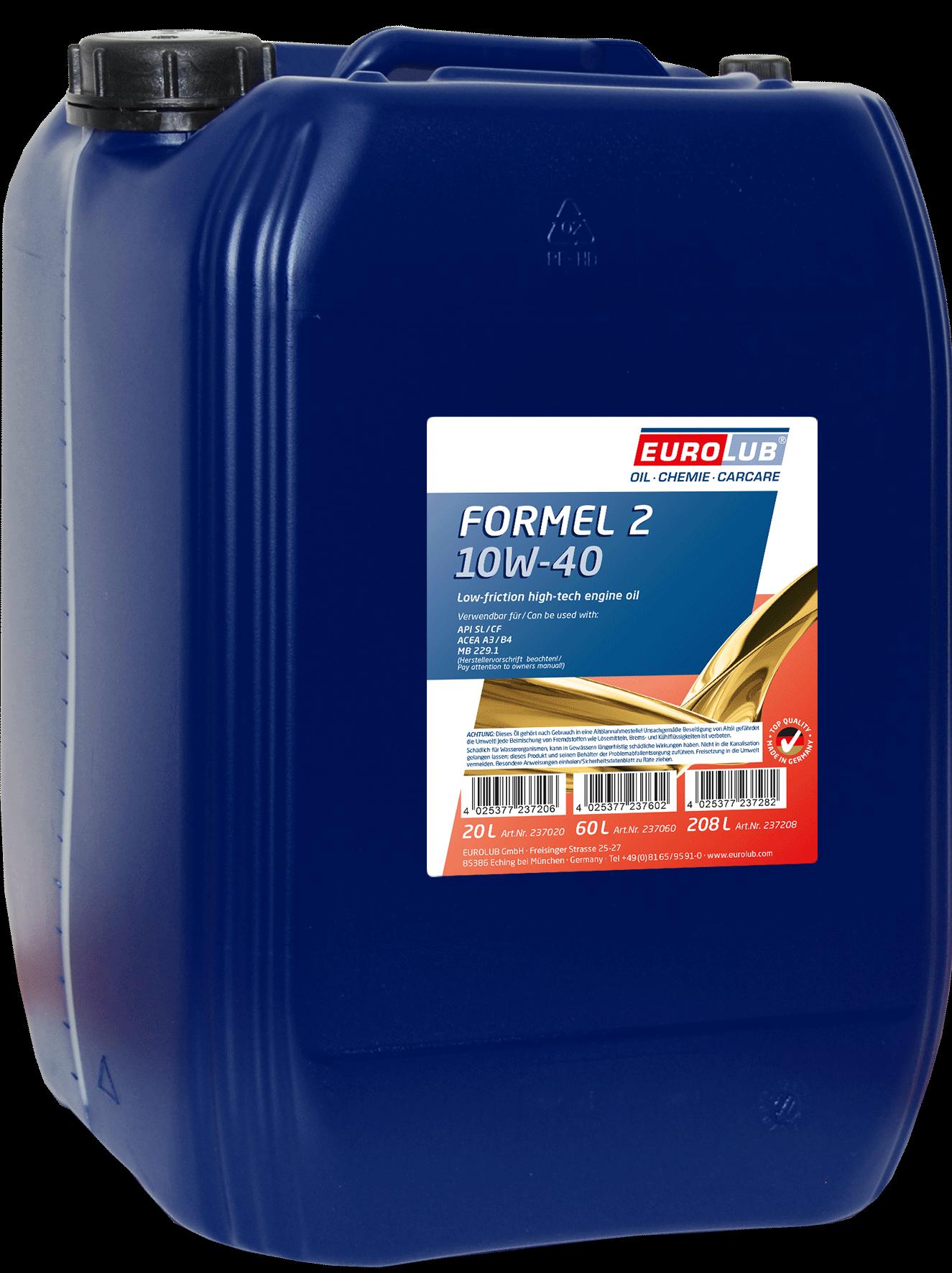 EUROLUB Formel 2 SAE 10W/40 (полусинтетическое), 20л