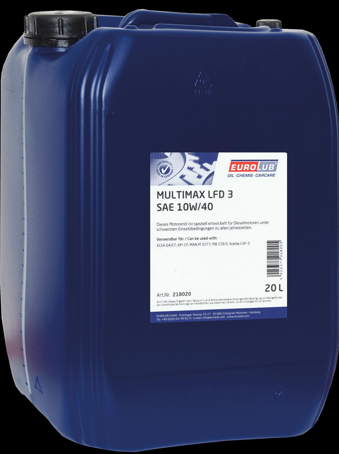EUROLUB MULTIMAX LFD3 SAE 10W/40 (полусинтетическое для авто SCANIA), 20л