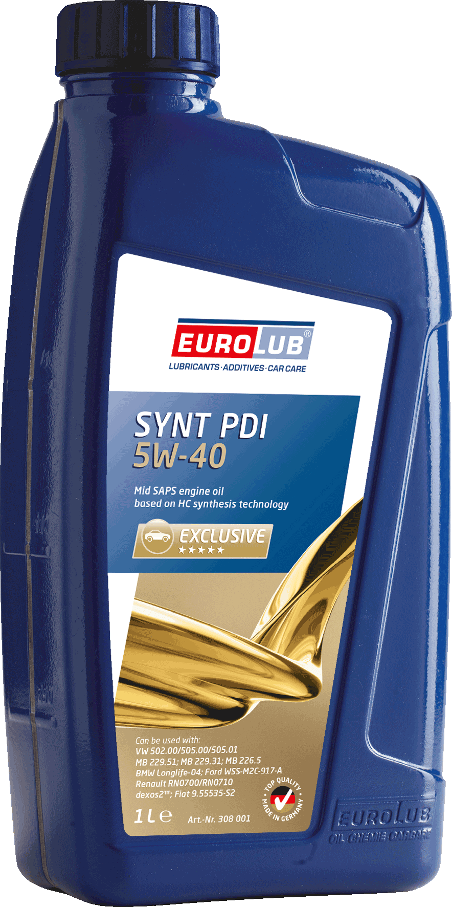 EUROLUB   SYNT PDI SAE 5W/40 (синтетическое, Mid SAPS), 1л