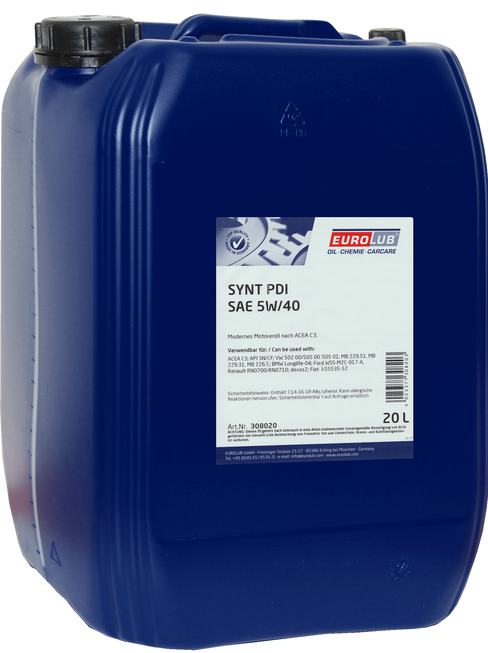 EUROLUB   SYNT PDI SAE 5W/40 (синтетическое, Mid SAPS), 20л