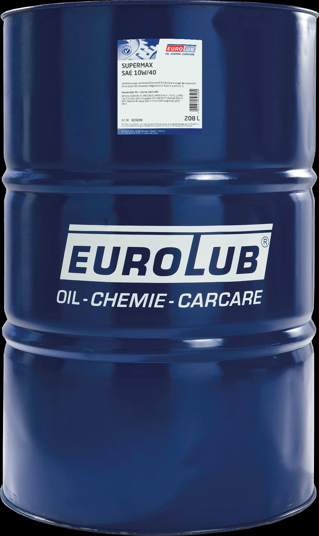 EUROLUB SUPERMAX SAE 10W/40 (LowSAPS), 208л