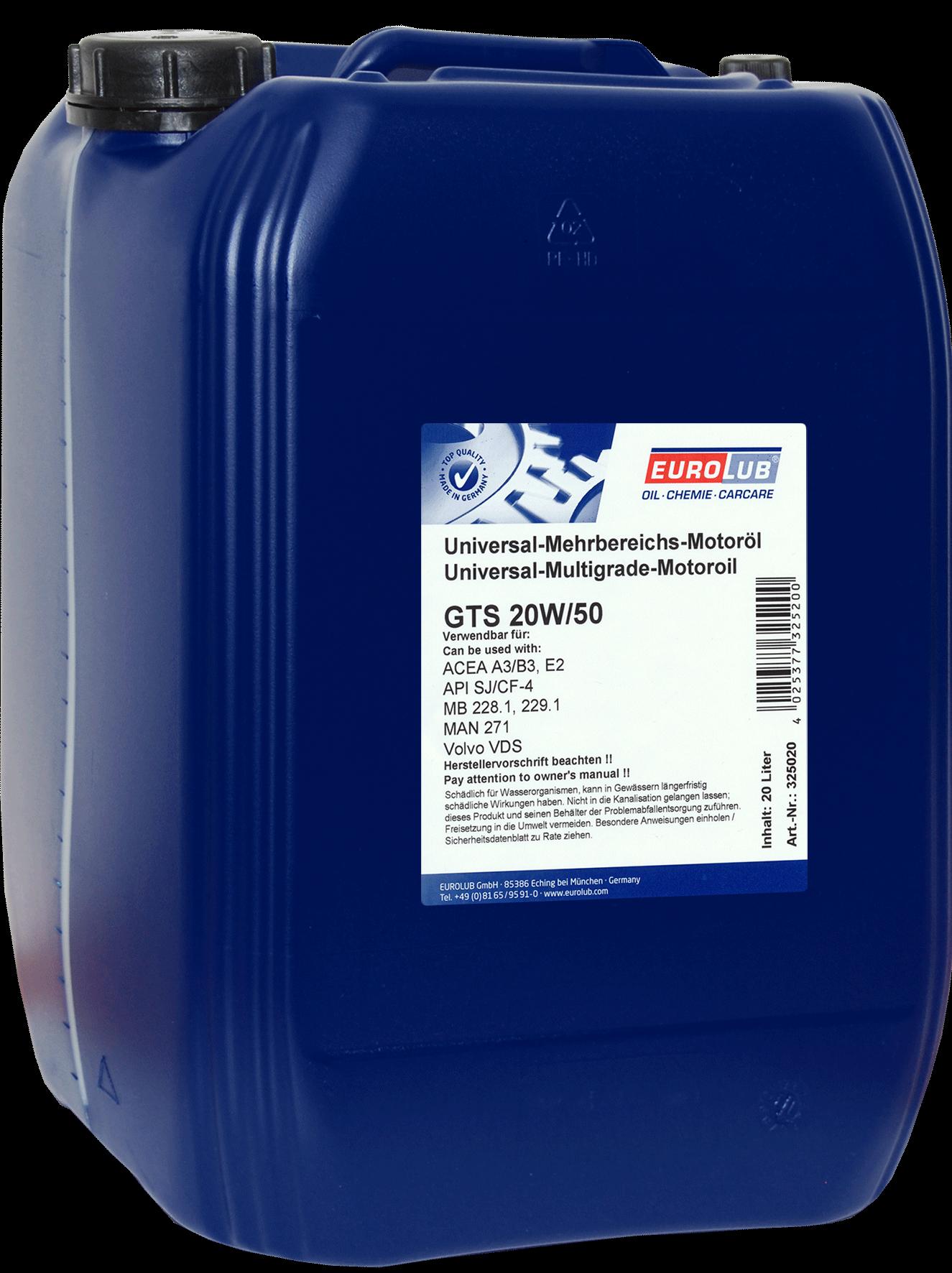 EUROLUB GTS 20W/50 (минеральное), 20л
