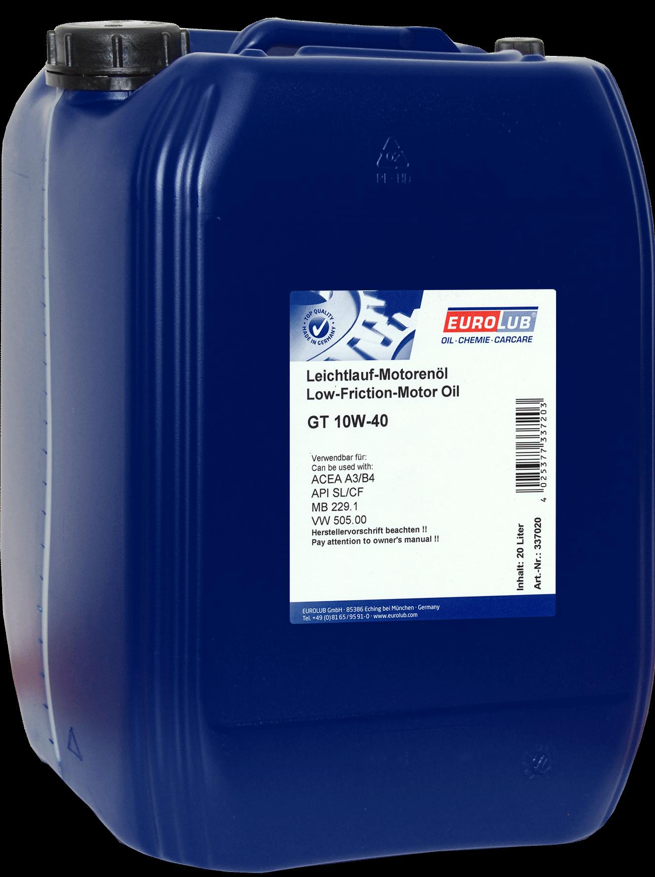 EUROLUB GT SAE 10W/40  (полусинтетическое), 20л