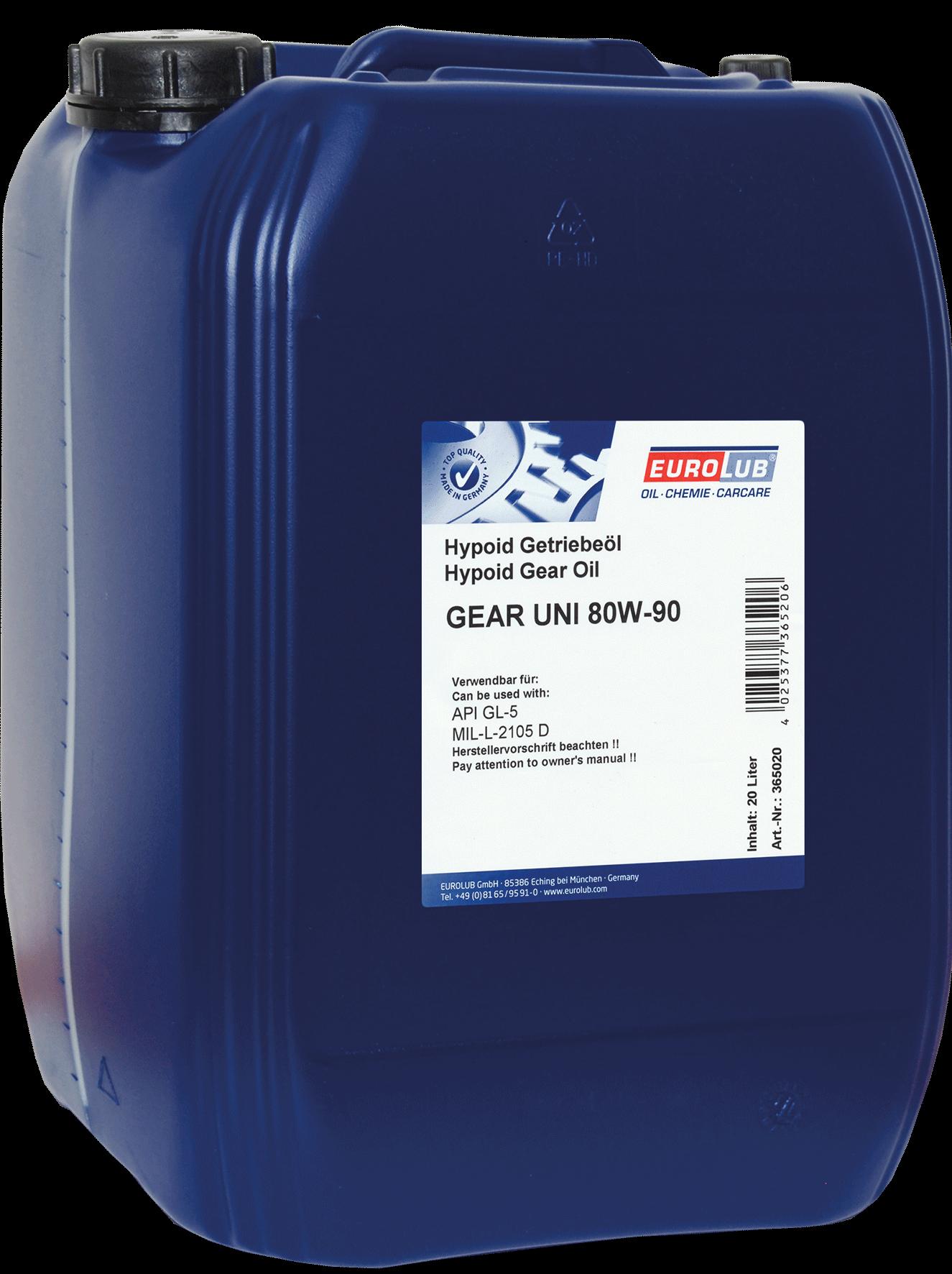 EUROLUB Gear Uni SAE 80W/90 (минеральное), 20л