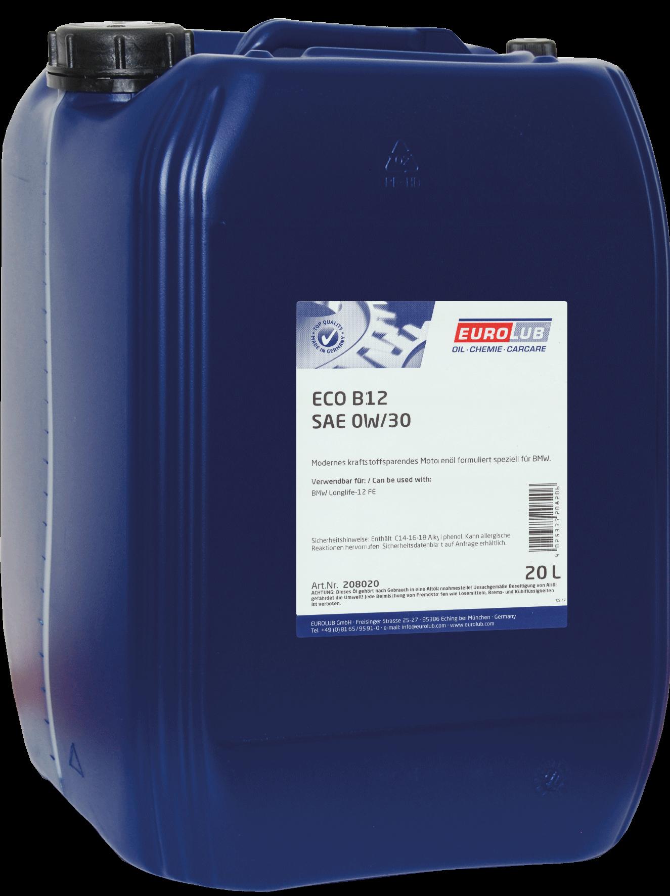 EUROLUB ECO B-12  SAE 0W/30 (синтетическое, Mid SAPS), 20л