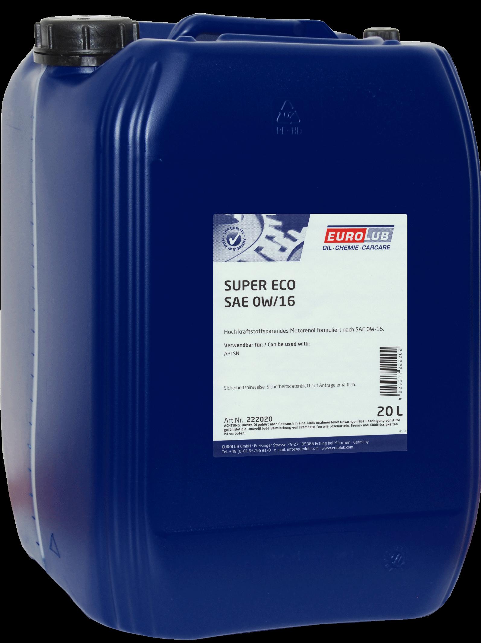 EUROLUB SUPER ECO SAE 0W/16 (синтетическое), 20л