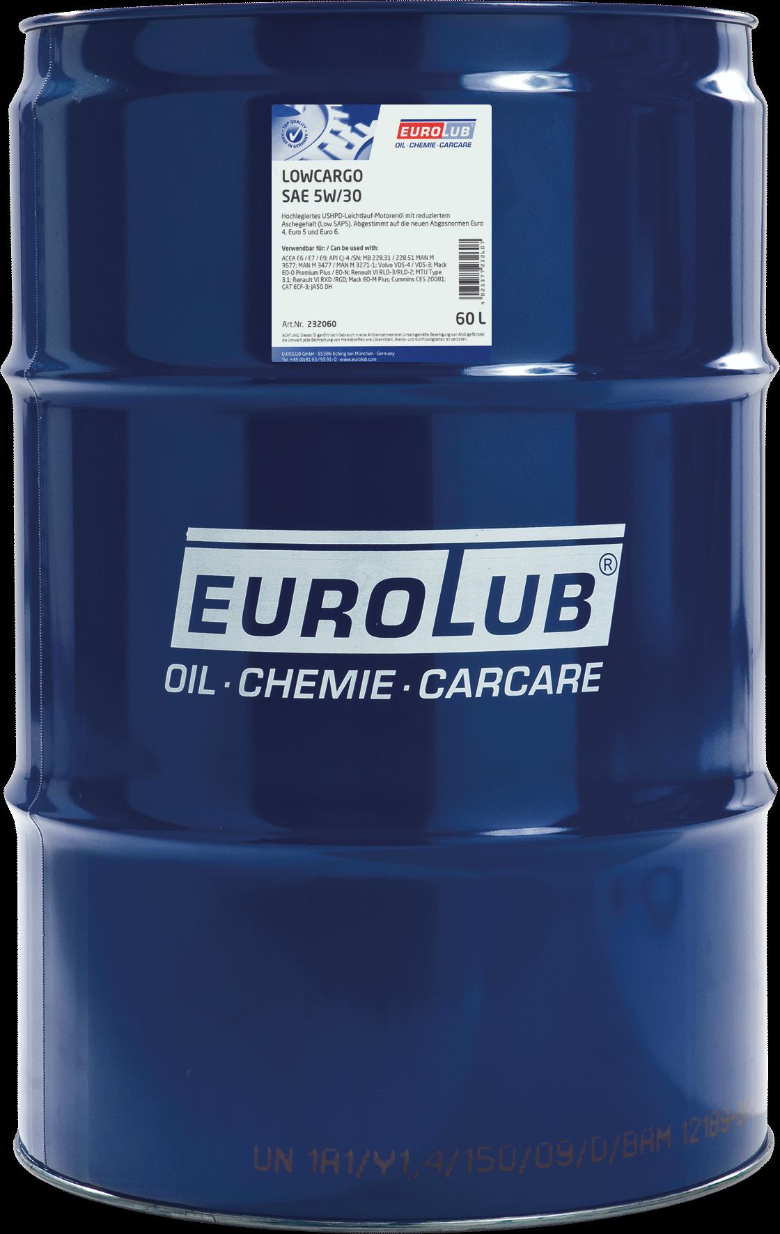 EUROLUB LOWCARGO SAE 5W/30 (синтетическое, LowSAPS), 60л