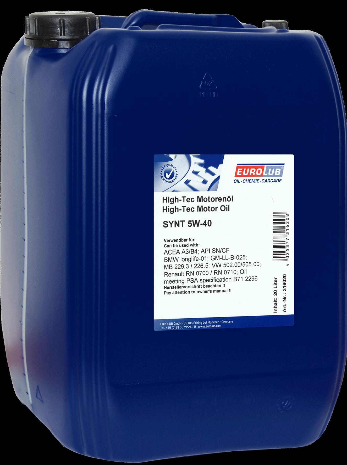 EUROLUB SYNT SAE 5W/40 (синтетическое), 20л