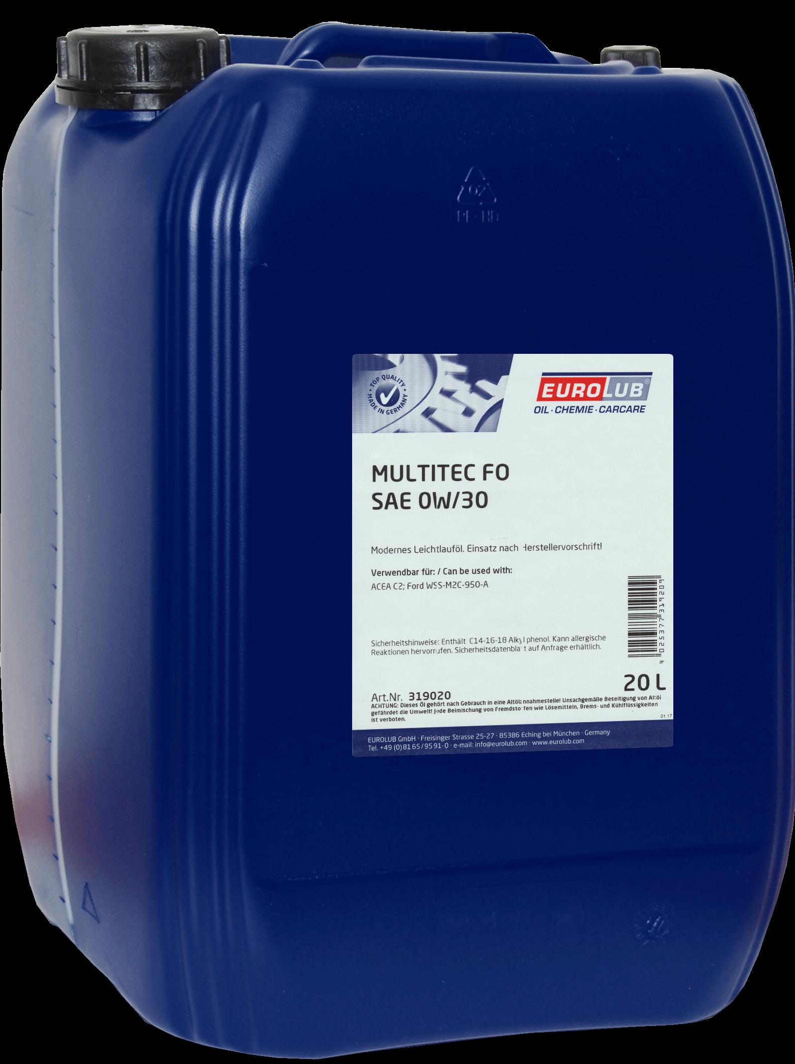 EUROLUB ECO MULTITEC FO SAE 0W/30 (синтетическое, Mid SAPS), 20л