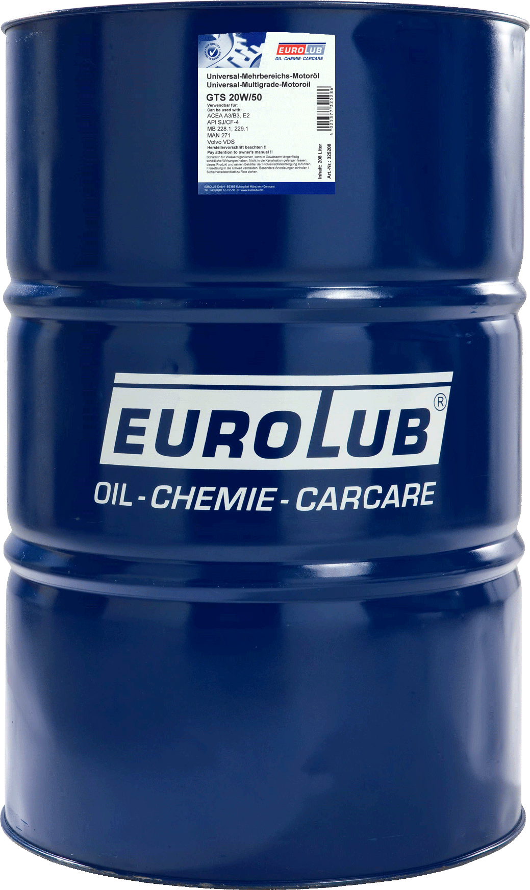 EUROLUB GTS 20W/50 (минеральное), 208л