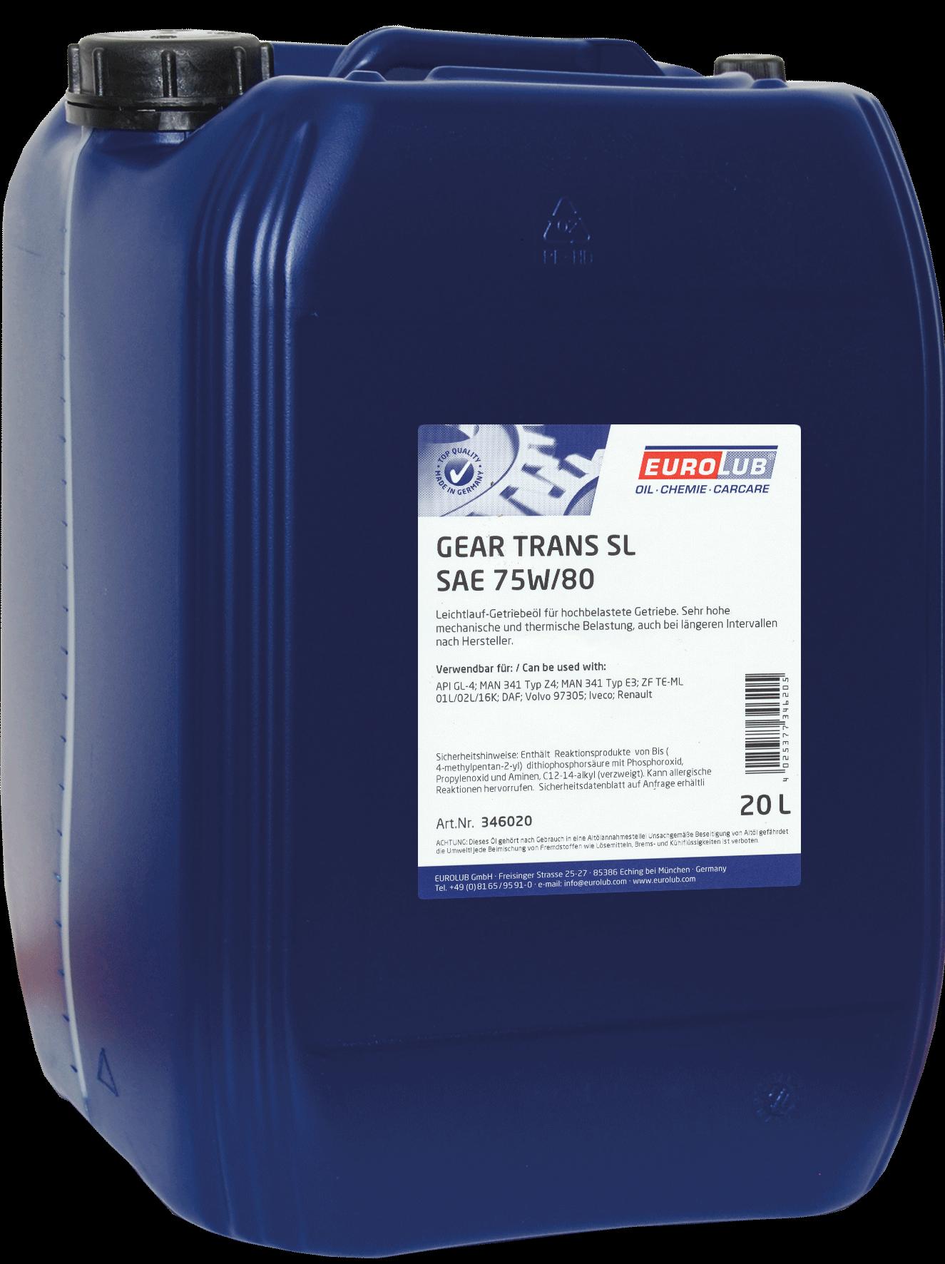 EUROLUB Gear Trans SL SAE 75W/80 (синтетическое), 20л