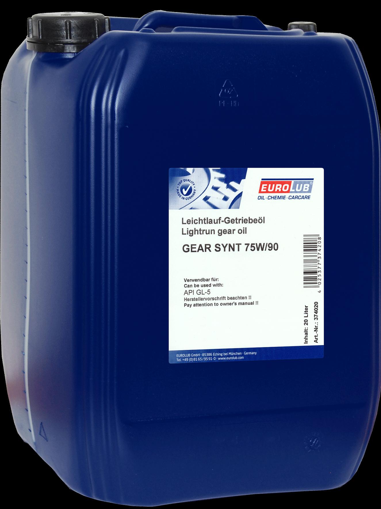EUROLUB Gear Synt SAE 75W/90 (синтетическое), 20л