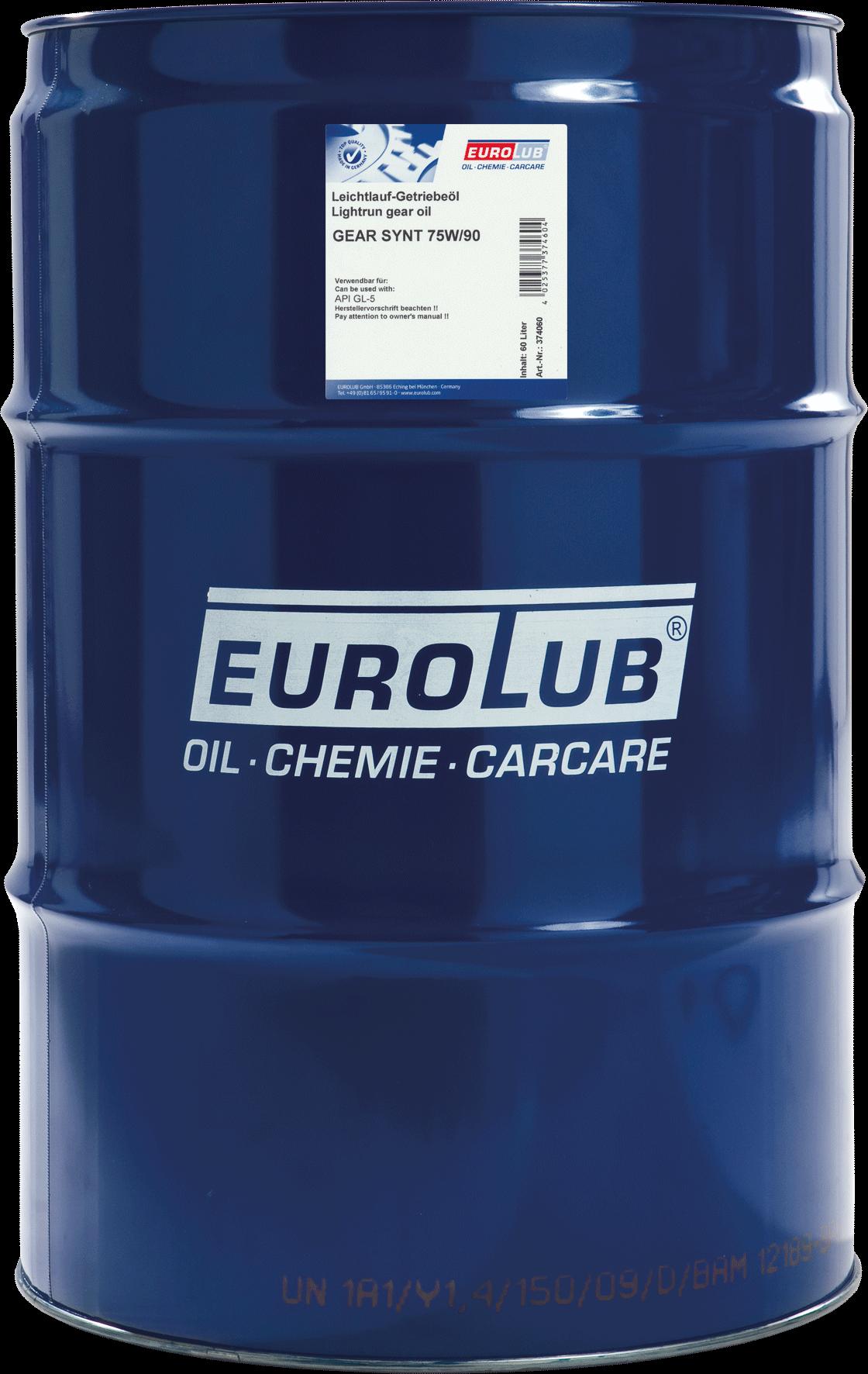 EUROLUB Gear Synt SAE 75W/90 (синтетическое), 60л