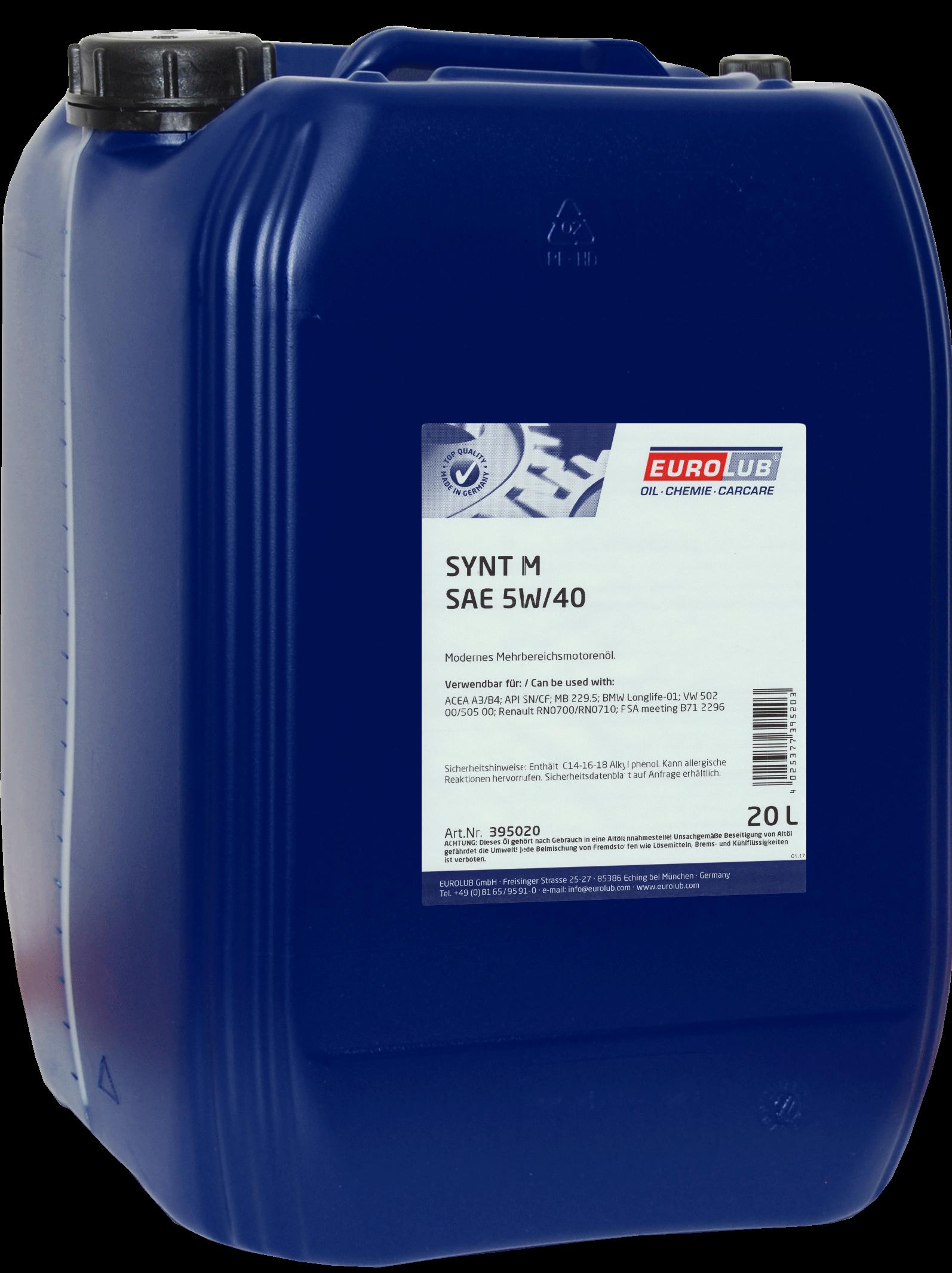EUROLUB   SYNT M SAE 5W/40 (синтетическое), 20л