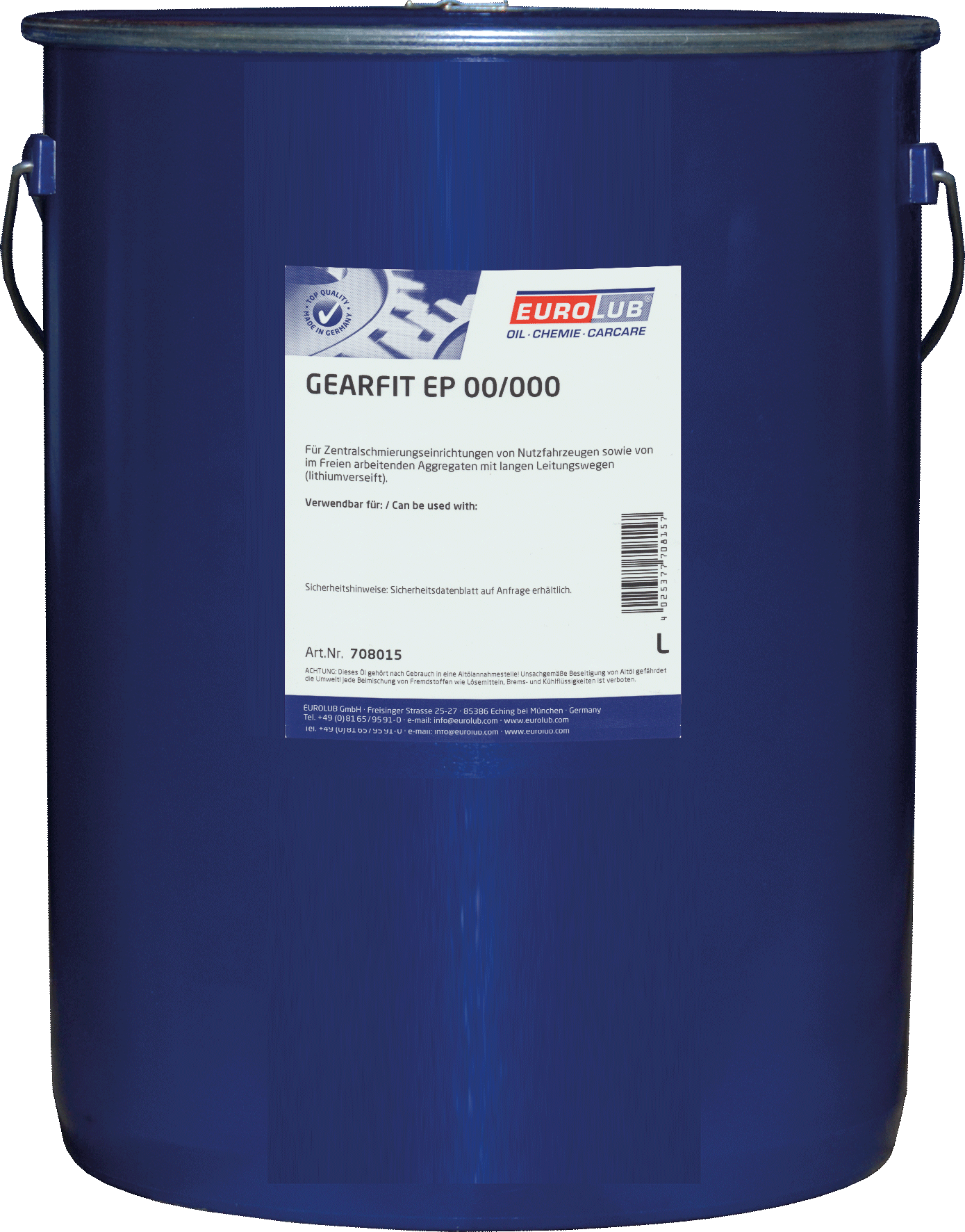 Eurolub Gearfit EP00/000 (смазка для централизованных систем), 15л