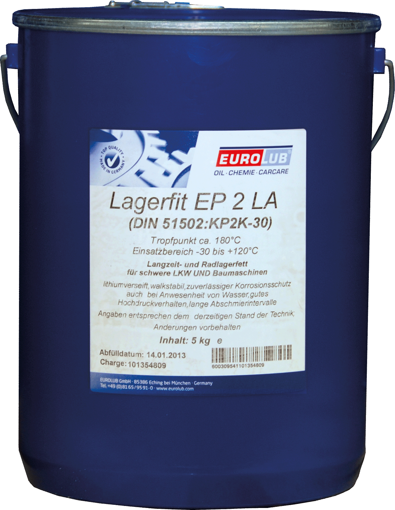 EUROLUB LAGERFIT EP 2 LA (литиевая смазка), 5л
